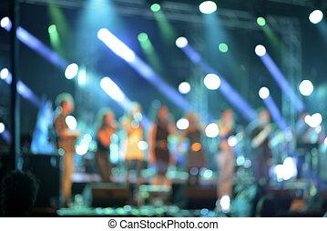 defocused, konsert, scen, färgrik, upplyst