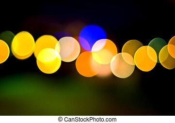 defocused, luces, en, fondo oscuro
