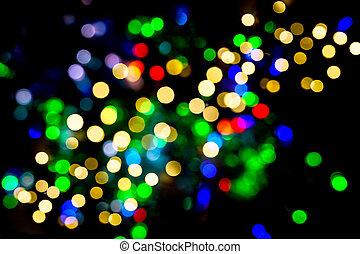 defocused, luci, decorazioni natale, astratto, multicolor, fondo