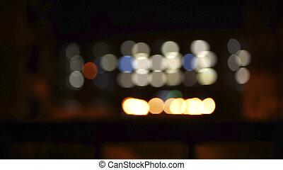 defocused, lumières, résumé, ville, nuit