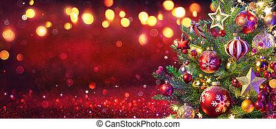 defocused, lumières rouges, fond, noël, scintillement, résumé, arbre