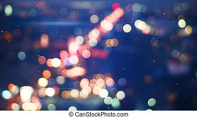 defocused, luzes, cidade, noturna