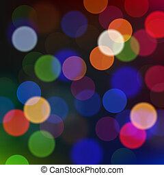 defocused, luzes natal, borrão, experiência.