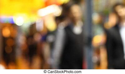 defocused movement of pedestrians in city
