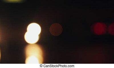 Defocused night car headlights