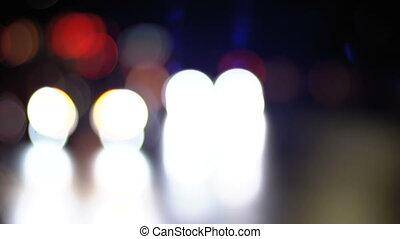 Defocused Night City Traffic Lights. Color Blurred bokeh of...