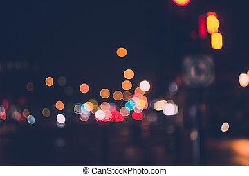 Defocused Night Light in City Background