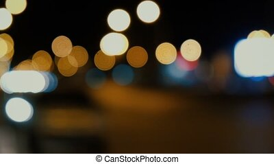 Defocused night traffic lights abstract video