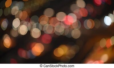 Defocused night traffic lights aerial view
