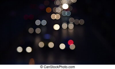 Defocused night traffic lights-Bangkok