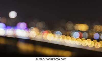 Defocused Night Traffic Lights.