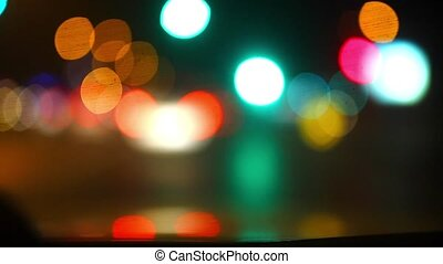 Defocused night traffic lights, Konya