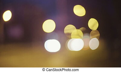 Defocused night traffic lights.