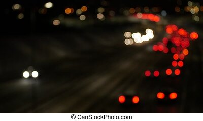 Defocused night traffic lights