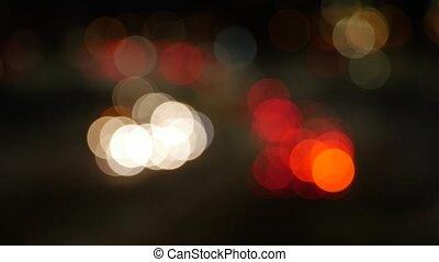 Defocused night traffic lights - Vilnius street - abstract...