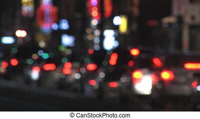 Defocused night traffic.