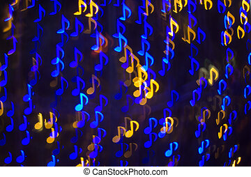 Defocused note melody background ( Bokeh ) for song