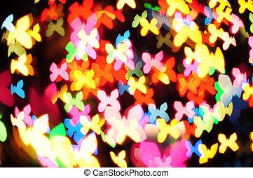 Defocused of christmas light butterfly
