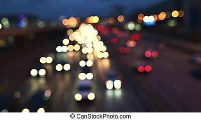Defocused of Night Traffic jam in big city
