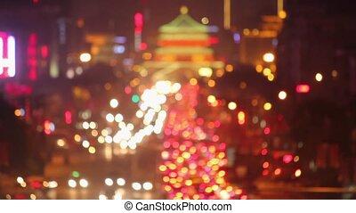 Defocused of trafic Of Xi'an At Night,China. - Defocused of...
