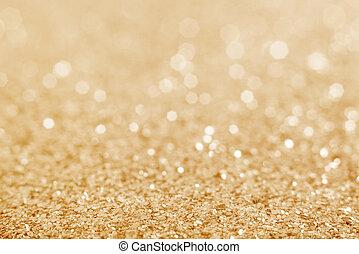 defocused, oro, resplandor, fondo.