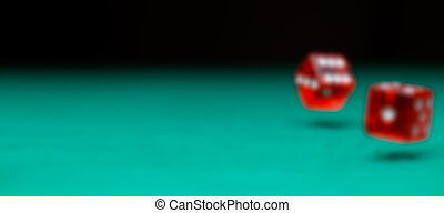 Defocused photo of two dice falling on green table