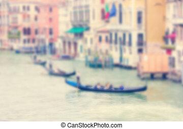 defocused, plano de fondo, con, canal grande, y, tres, góndolas, en, venecia