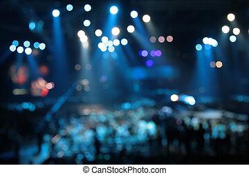 defocused, résumé, projecteurs, sur, concert