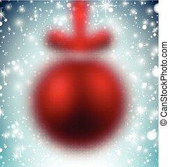 Defocused red christmas ball.