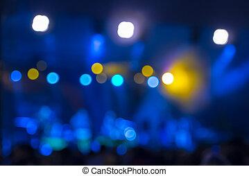 defocused, rozrywka, koncert, bokeh, oświetlenie, na rusztowaniu