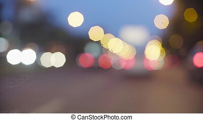 Defocused traffic lights at night in Moscow. Out of focus