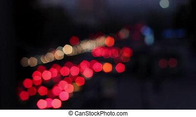 Defocused trafficlights during rush hour