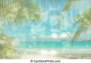 defocused, tropicais, praia., perfeitos, férias, experiência.