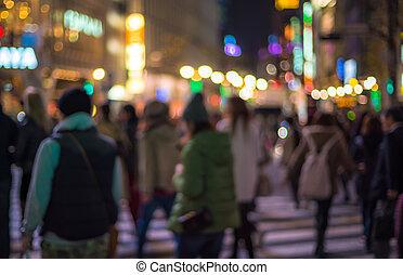 defocused, urbano, cena noite