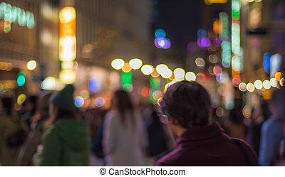 defocused, urbano, escena noche