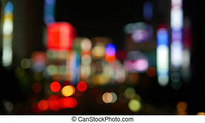 defocused, ville, nuit, bokeh, fond