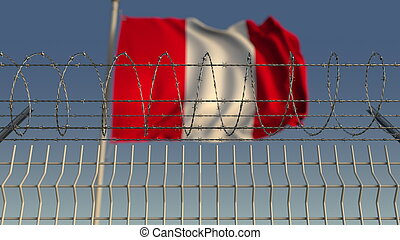 Defocused waving flag of Peru behind barbed wire fence. 3D rendering