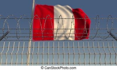 Defocused waving flag of Peru behind barbed wire fence. Loopable 3D animation