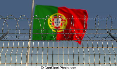 Defocused waving flag of Portugal behind barbed wire fence. 3D rendering