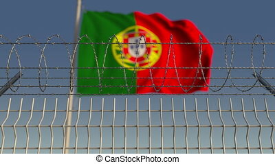 Defocused waving flag of Portugal behind barbed wire fence. Loopable 3D animation