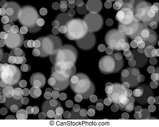Defocused white lights over dark background. Abstract background. Multi-layered effect