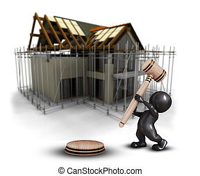 defocussed, casa, morph, contra, homem, imagem, 3d, sob, gavel, construção