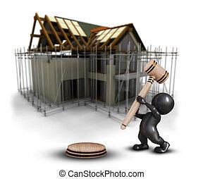 defocussed, maison, morph, contre, homme, image, 3d, sous, marteau, construction