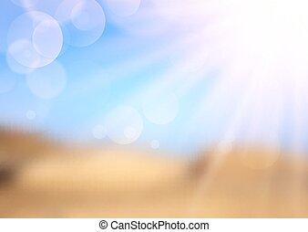 Defocussed summer landscape with sun rays