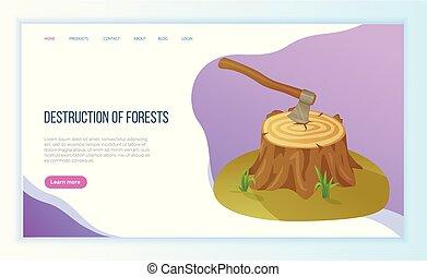 deforestación, ambiental, vector, problema, hacha