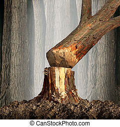 Deforestation concept and when a tree falls symbol with an...