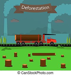 deforestation. design element in vector