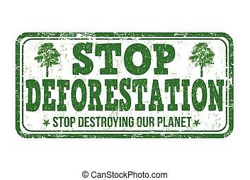 deforestation, frimærke, holde inde
