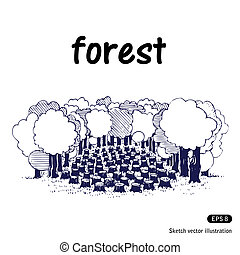 Deforestation. Hand drawn vector isolated on white