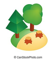 Deforestation icon, isometric 3d style